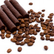 Chocolate bars and coffee — Stock Photo