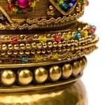 Stack of golden bracelets — Stock Photo