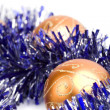 Christmas balls and tinsel — Stok fotoğraf #1074239