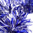 Blue christmas tinsel — Stock fotografie