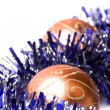 Foto Stock: Christmas balls and tinsel