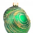 Two green christmas balls — Stock Photo