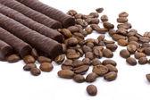 Chocolate bars and coffee — Stock Photo
