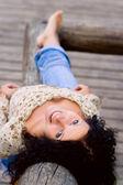 Outdoor portrait of beautiful brunet — Stock Photo