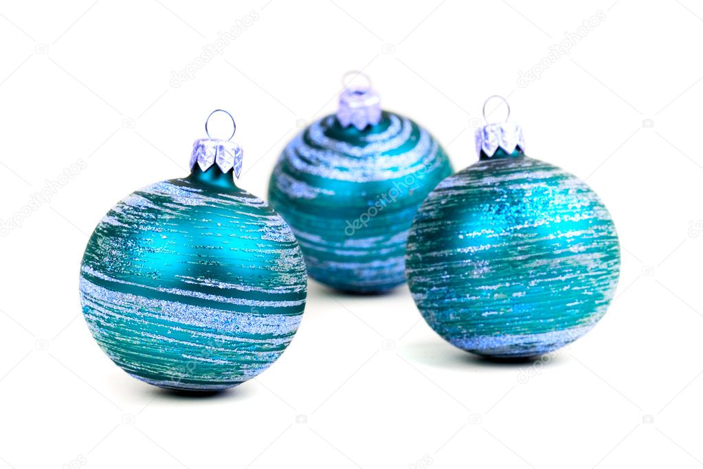 Three blue christmas balls isolated on white background  Stock Photo #1074102