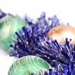 Christmas balls and tinsel — Stok fotoğraf #1080110