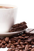 Coffee and black chocolate — Stock Photo