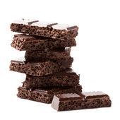 Bloques de chocolate negros — Foto de Stock