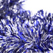 Blue christmas tinsel — Stock Photo