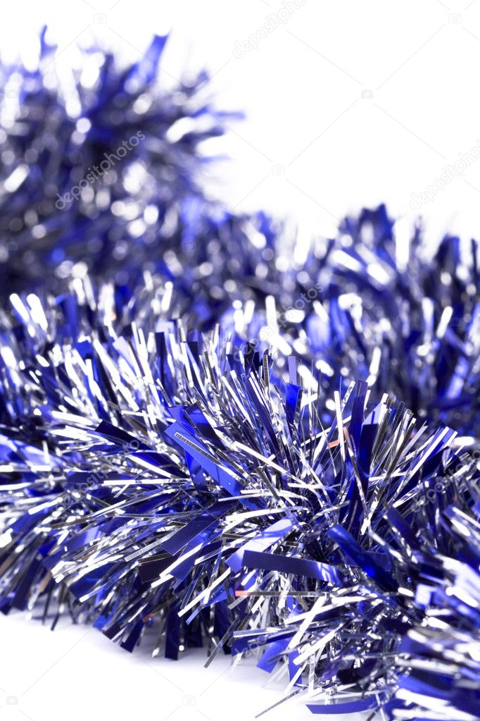 Blue christmas tinsel garland closeup — Stock Photo #1171725