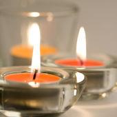 Tři svíčky hořící — Stock fotografie