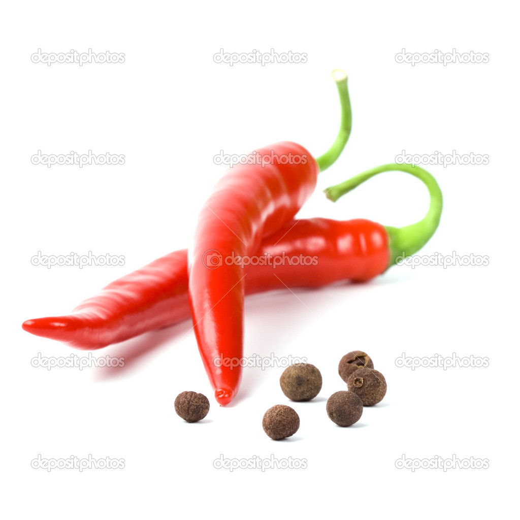 Two red cayenne and black pepper isolated on white background — Photo #1314966
