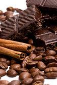 Chocolate, coffee and cinnamon — Stock Photo