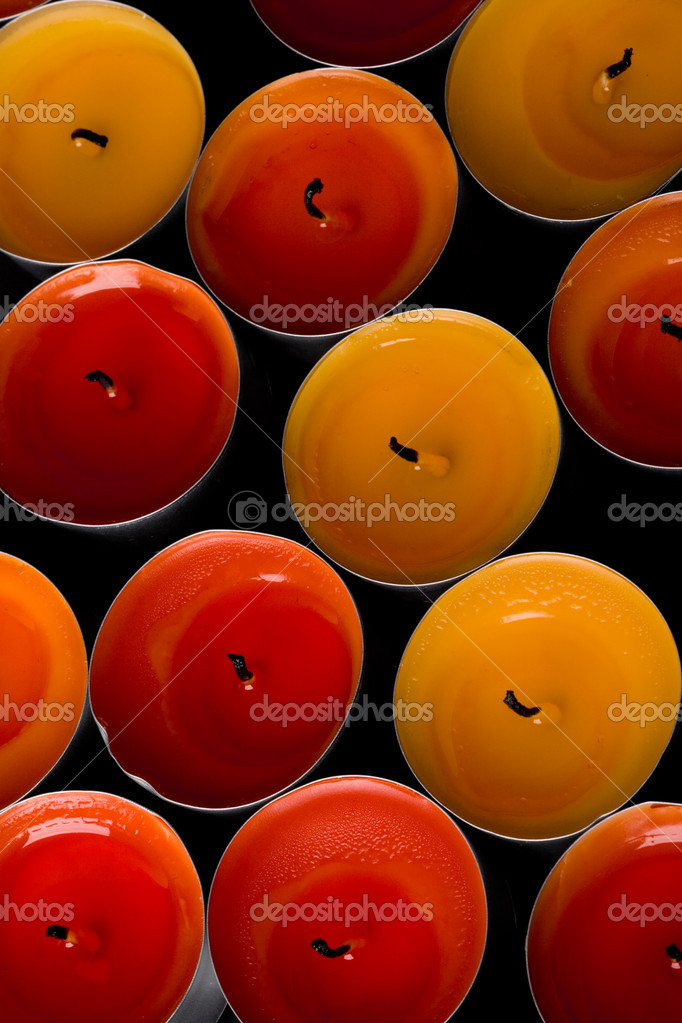 Candles group on black background. — Stock Photo #1429586