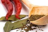 Pimento, caraway and bay leaves — Stock Photo