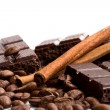 Chocolate, coffee and cinnamon sticks — Stock Photo