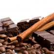 Chocolate, coffee and cinnamon sticks - Stock Photo