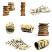 Notas e moedas — Foto Stock