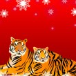 Royalty-Free Stock Vektorfiler: Pair of tigers on a poster2