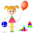 Stock Vector: Girl with toys