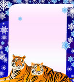 Pair of tigers on a poster — Stock Vector
