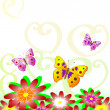 Stock Vector: Butterflies on flowers
