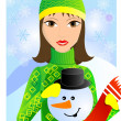 Girl and snowman - Stock Vector