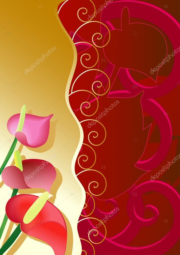 Ornament with anthuriums  Stock Vector #1094600