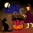 Witch brews a potion — Imagen vectorial