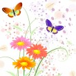 Butterfly on flowers3 — Stock Vector