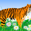 Tiger and flowers2 — Stock Vector