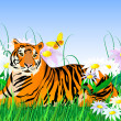 Tiger and flowers — Stock Vector