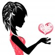 Girl and the valentine3 — Stock Vector