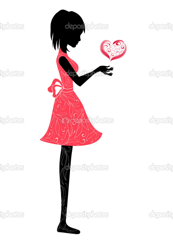 Girl and the valentine — Stock Vector #1462634