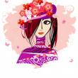 Girl in a floral hat3 — Stock Vector #1521602