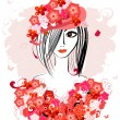 Girl in a floral hat2 - Stock Vector