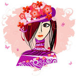 Girl in a floral hat3 — Stock Vector