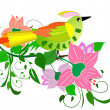 Stock Vector: Flower bird