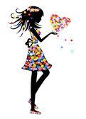 Chica con una tarjeta de flor — Vector de stock