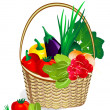 Vegetables in the basket - Stock Vector