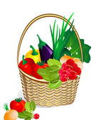 Vegetables in the basket — Stock Vector