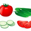 Cucumber and tomato - Stock Vector