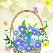 Flowers basket — Stock Vector
