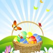 Basket of Easter eggs in the meadow — Stock Vector