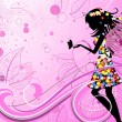 Flower Fairy with butterflies - Imagen vectorial