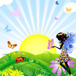 Flower fairy with butterflies — Stock Vector #2550768