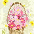 Stock Vector: Flowers basket