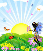 Flower fairy with butterflies — Stock Vector