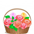 Stock Vector: Rose Basket
