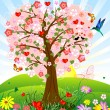 Romantic tree — Stock Vector